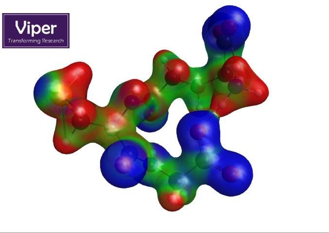 Glutathione, an important signalling molecule and antioxidant that prevents damage to our cells, has a very distinct charge distributionwith red indicating positive, green neutral and blue negative charge.