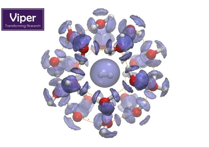 """Quantum probability surface for the hydrogen atoms in a hydrogen clathrate hydrate. These water """"snowballs"""" are nature's way of storing hydrogen and/or methane in the deep sea under incredibly high pressures. Understanding these structures are important for future energy storage but have also been suggested to occur on some icy moons in our solar system (Enceladus, for example)."""
